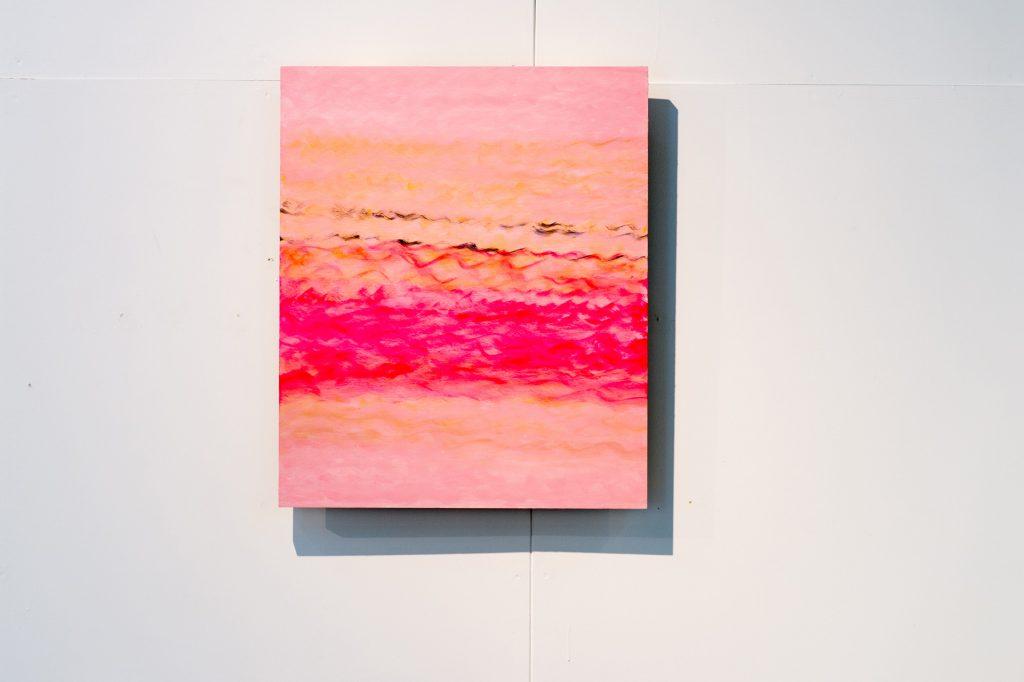 やさしく、つよく / パネル・アクリル絵具 / F20 / 寺澤真佑美 「わたしが見たい絵って 何だろう。描きたい絵って何だろう。色々考えましたが、素直に自分が見たい色や線を描きました。」
