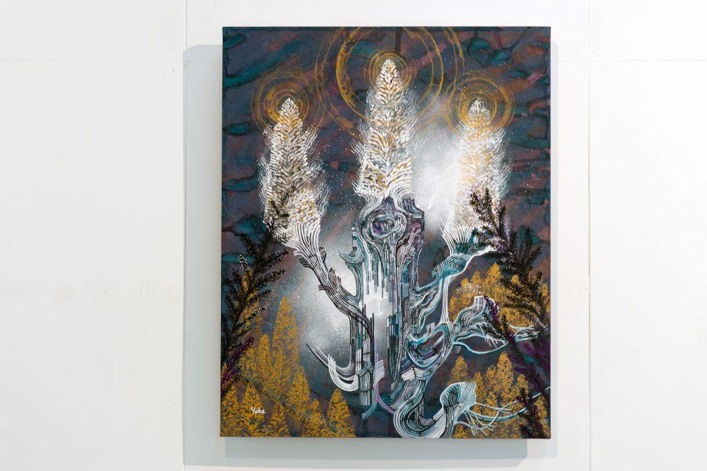 内なる光 / 紙にアクリルガッシュ / F30 / 高野結花 「一筋の光が体を駆け巡りました。不思議で温かい経験でした。」