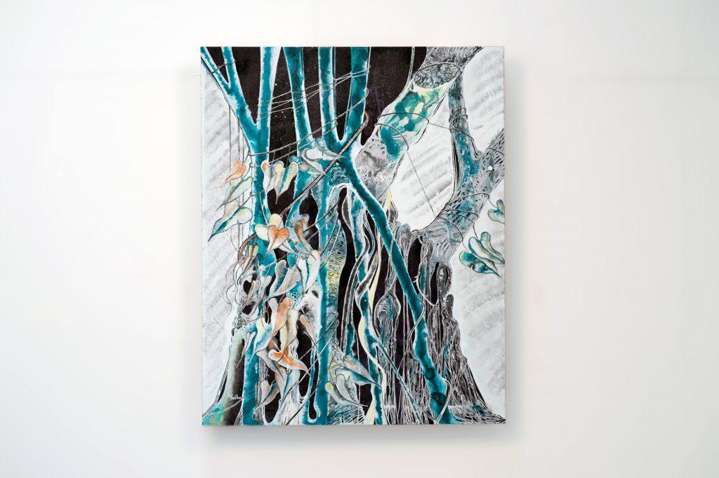 碧き聖なる木 紙にアクリルガッシュ 高野結花 生命の根元を知りたくて、 樹木に宿る聖霊と話す。